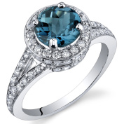 London Blue Topaz Halo Ring Sterling Silver Rhodium Nickel Finish 1.50 Carats Sizes 5 to 9