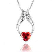 Fashion White Rhodium Plated Synthetic Stone Heart Red Angel Wings Pendant with Free 46cm Necklace Chain