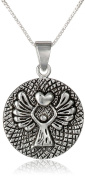 Sterling Silver Guardian Angel Reversible Pendant Necklace with Prayer Inscription, 46cm
