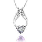 Fashion White Rhodium Plated Heart White Synthetic Stone Angel Wings Pendant with Free 46cm Necklace Chain