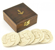 Sailor's Rope Coaster Set, Nautical Anchor Cherry Wood Box Holder, 12cm