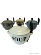"Set 4 Stoneware 350ml ""Soup"" Bowls with Lids and Spoons that fit into Handles"