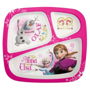 Frozen Plastic 3-Sectioned Tray Divided Kids Dinner Plate