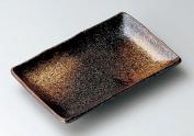 BLACK-YUTEKI Jiki Japanese traditional Porcelain Rectangle Plate