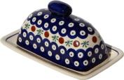 Polish Pottery Butter Dish 10cm X 18cm From Zaklady Ceramiczne Boleslawiec #1377-41 Traditional Pattern, Dimensions