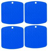 Silicone Pot Holder, Trivet, and Garlic Peeler (Set of 4 BLUE) Hot Pads Trivet Mats - Non Slip, Flexible, Durable, Heat Resistant, Essential Kitchen Cooking & Baking Gadget - Dishwasher Safe
