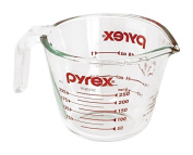Pyrex Prepware 1-Cup Measuring Cup, Red Graphics, Clear