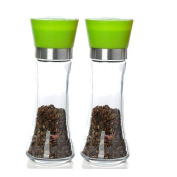 Glass Pepper and Salt Grinder with Ceramic grinding mechanism, 20cm (Green), Set of Two