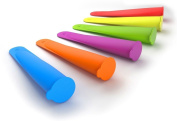 Greenco Ice Pop Makers, Set of 6 Colourful and Flexible Silicone Popsicle Moulds