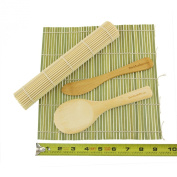 BambooMN Brand - Sushi Rolling Kit - 2x Bamboo Rolling Mats, 1x Rice Paddle, 1x Spreader - Combo