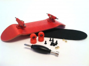 SFB Red Complete Wooden Fingerboard w Trucks - Grip - Bearing Wheels