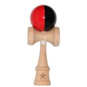Split Red Black Stripe Super Kendama Shinny,vertical Stripe, Super Sticky, Japanese Wooden Toy, Free String, USA Seller