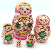 Russian nesting dolls Wood Burned Hand Carved Hand Painted Nesting 5 piece DOLL Set