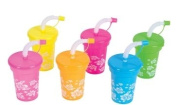 12 Luau sipper cups with straws - plastic reusable party cups
