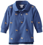Kitestrings Baby-boys Infant Pique Long Sleeve Polo, Blue Embroidery, 6-9 Months Colour
