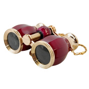 HQRP Opera Glasses Antique Style in Elegant Red Colour with Gold Trim w/ Necklace Chain plus HQRP UV Metre