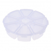 Well-Goal 8 Compartments Round Plastic Storage Box Bead Organiser Display Containers Clear White