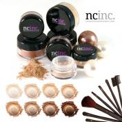 TAN SKIN 14pc Bare Naked Skin Mineral Makeup Set (Large) by NCinc. + Complete Brush Set. Minerals Makeup Starter Kit