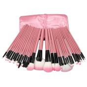 Davidsonne Professional 32 PCS Make up Cosmetic Brushes makeup brush Set Kit Eyeshadow Eyebrow Eyelash Eyeliner Lip Powder Blush Face Brush with Pink Bag Case Pouch,Hot Pink