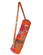 Indian Fruit Printed Kantha Work Cotton Yoga Mat Bag