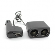 HuaYang Male to 2 Female Cigarette Lighter Socket + USB Port Car Splitter Charger Adaptor