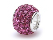 FreeStyle Bead 10 mm Sterling Silver with Fuchsia Rhinestone Crystals
