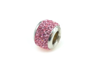 FreeStyle Bead 10 mm Sterling Silver with Pink Rhinestone Crystals