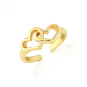 Interlinked gold heart toe ring - Adjustable includes gift bag