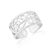 Silver Tone Toe ring with Celtic design - Rhodium plated - adjustable with gift bag