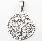 Solid Sterling Silver Solstice Tree of Life Yggdrasill Pendant Pagan P024