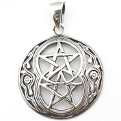 Solid Sterling Silver Twin Pentagram Double Pentacle Pendant Charm Talisman P021