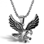Stayoung Jewellery Fashion Unisex Mens Stainless Steel Eagel Open Wing Pendant Necklace, Colour Silver