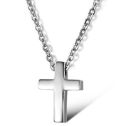 Stayoung Jewellery Classic Simple Style Unisex Mens Stainless Steel Pray Cross Pendant Necklace, Colour Silver