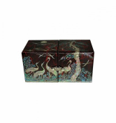 handcrafted jewellery box red, Korean art decorations made of natural pearl, fancy gift for women, design herons and pine