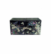 Adorable Asian design purple jewellery box with scenes made of natural pearl, traditional Korean art jewellery, original gift idea