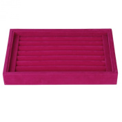 1 x Velvet 8-Bar Ring Cuff Jewellery Display Tray Without Lid---Shocking Pink