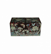 Small red jewellery box , mother of pearl, Korean handicrafts, design cube, 4 drawers - butterflies and flowers