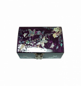 Beautiful purple jewellery box, fancy box for girl, luxury craft from Korea natural mother of pearl, storage for rings + mirror