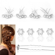 High Quality Crystal Diamante Hair Pins Pearl Flower Wedding Bridal Prom 20/40