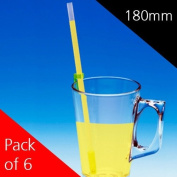 180mm One Way Drinking Straws - Pack of 6