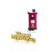 Anniversary House : Robin on a Postbox Cake Decoration & Gold Merry Christmas Cake Pick