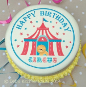 Boys Happy Birthday Circus Cake Topper - 19cm Round - Edible Icing or Wafer