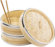 Andrew James 25cm 2 Tier Bamboo Steamer With Banding, Includes Chopsticks, Dim Sum Steamer Papers And 2 Year Warranty