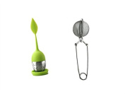 2pcs Stainless Steel Push Style Tea Infuser Strainer Mesh, ball with handle and leaf