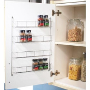 4 Tier Chrome Door Mounted Spice Rack Jar Holder Kitchen Cupboard Wall Storage Shopmonk