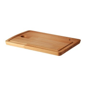 PROPPMÄTT Chopping board, beech, 38x27 cm, The chopping board collects meat and fruit juice in the milled groove and prevents it from spilling on to your worktop.