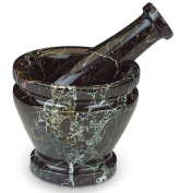 Medium Pestle and Mortar Real Black Marble Quality Highly Polished Himalayan Stone