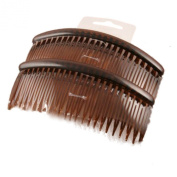 Pair of Large Tort Plain Hair Combs Slides 12cm