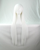 Womens/Ladies 80cm WHITE Colour Long STRAIGHT Cosplay/Costume/Anime/Party/Bangs Full Sexy Wig