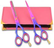 Pinksnow Giftset Hairdressing scissors & Hair thinning scissors barber Shears Jap Steel 5.5